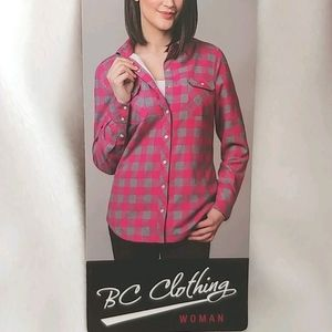 BC Clothing Sherpa lined Plaid flannel Shirt